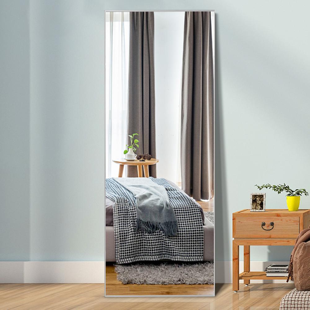 Neutype Silver Aluminum Alloy Thin Frame Full Length Floor Mirror