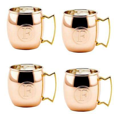 Monogram F 16 oz. Solid Copper Moscow Mule Mugs (Set of 4)