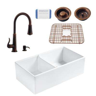 Brooks All-in-One Farmhouse Fireclay 33 in. 60/40 Double Bowl Kitchen Sink with Pfister Ashfield Bronze Faucet and Drain