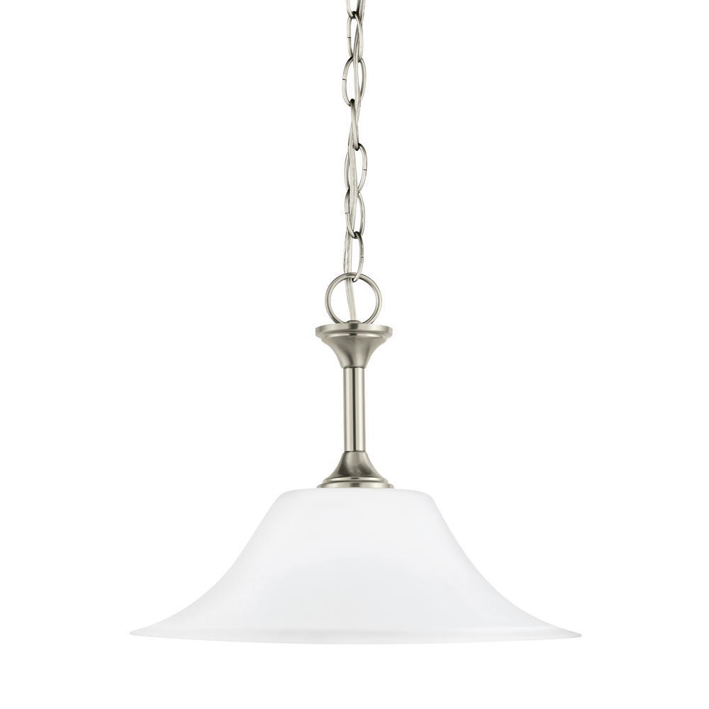 Holman 1-Light Brushed Nickel Pendant with LED Bulb