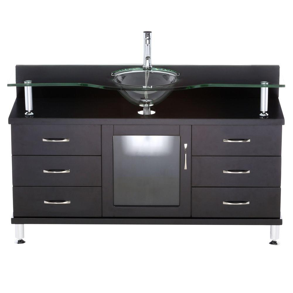 Attractive Virtu USA Vincente 55 In. Single Basin Vanity In Espresso With Glass Vanity  Top In Aqua MS 55 G ES   The Home Depot