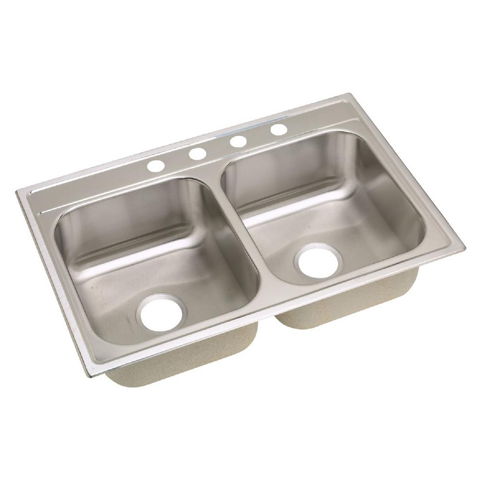 Dayton Drop-In Stainless Steel 33 in. 4-Hole Double Bowl Kitchen Sink
