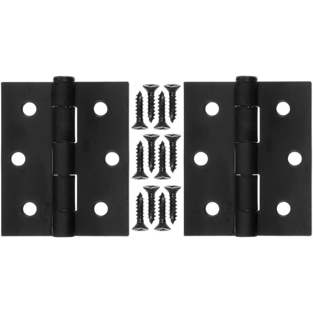 3 in. x 2.5 in. Steel and Black Hinge (1-Pair)