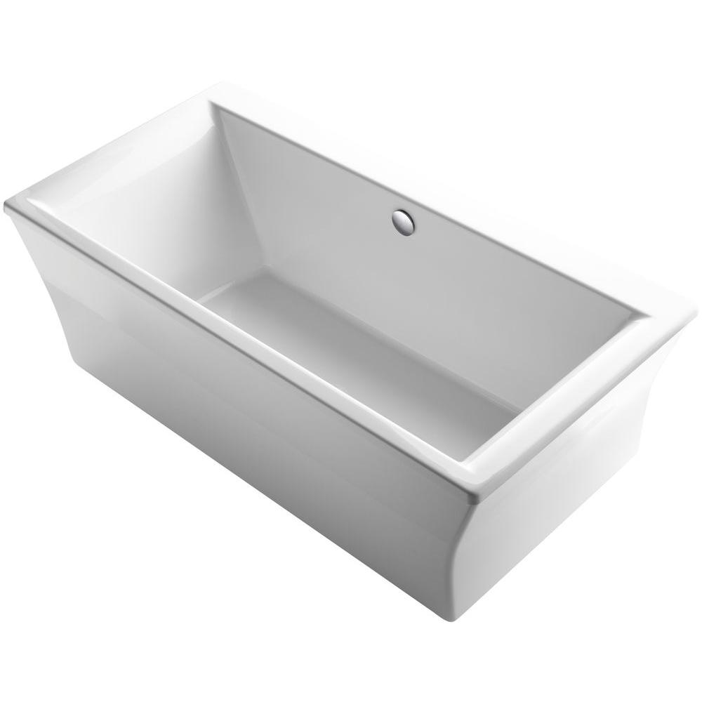 Stargaze 6 Ft Acrylic Flat Bottom Center Drain Bathtub With Fluted Shroud In White