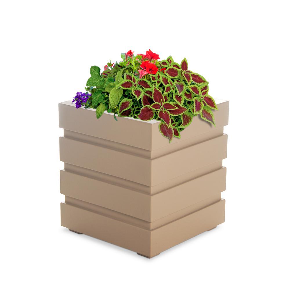 mayne freeport 18 in  square clay plastic planter-5860-c