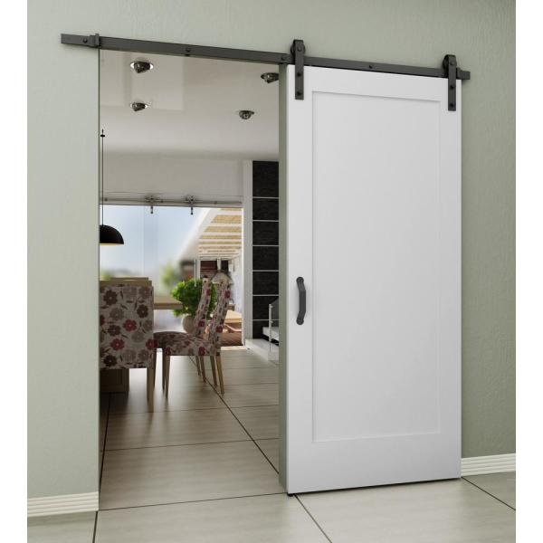 36 In X 84 In 1 Panel Shaker Primed Wood Sliding Barn Door With Hardware Kit 3389693 The Home Depot