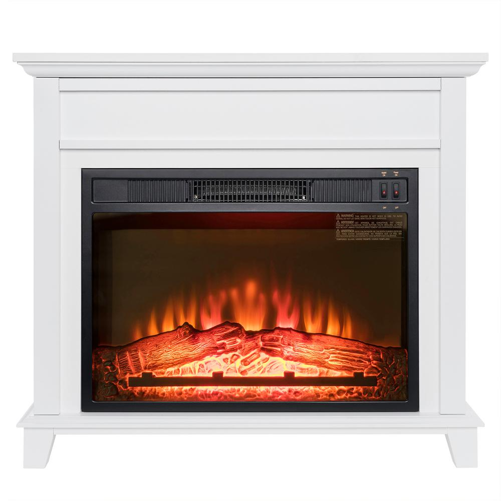 32 in. Freestanding Electric Fireplace Insert Heater in White