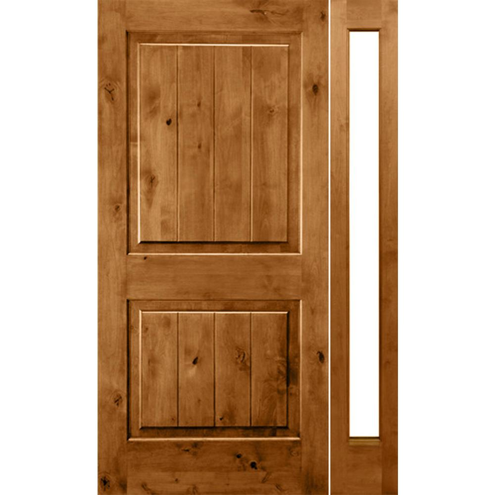 Krosswood Doors 46 in. x 80 in. Rustic Unfinished Knotty Alder Sq-Top VG Left-Hand Right Full Sidelite Clear Glass Prehung Front Door