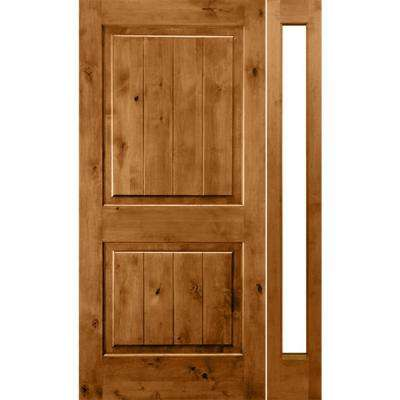 56 in. x 96 in. Rustic Knotty Alder Sq-Top VG Unfinished Right-Hand Inswing Prehung Front Door with Right Full Sidelite