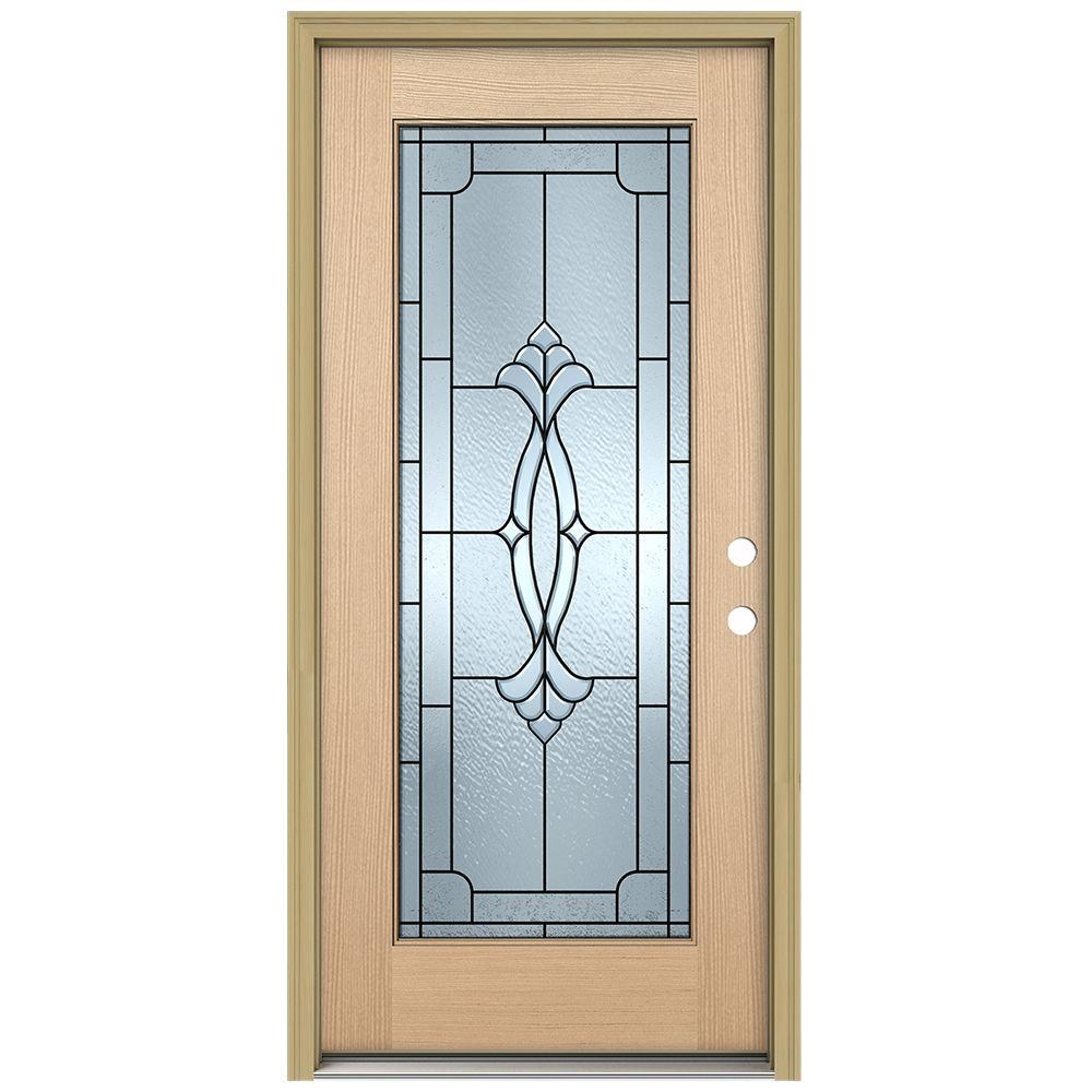 JELD-WEN 36 in. x 80 in. Champagne Full Lite Unfinished Hemlock Wood Prehung Front Door with Brickmould and Patina Caming