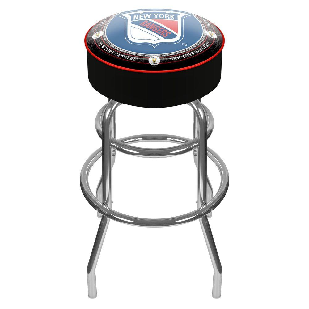 NHL Throwback New York Rangers 31 in. Chrome Padded Swivel Bar