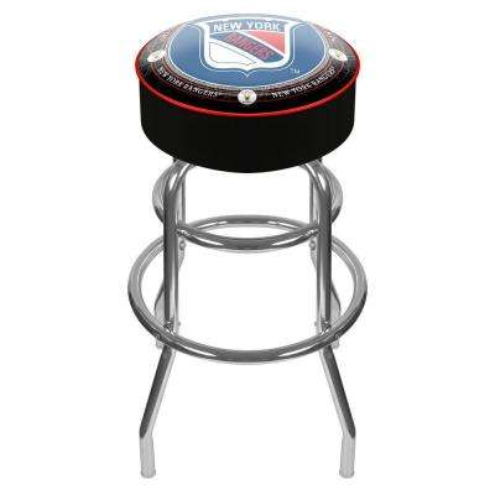 NHL Throwback New York Rangers 31 in. Chrome Padded Swivel Bar Stool
