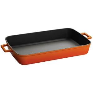 Click here to buy Lava Signature 5.14 Qt. Porcelain-Enameled Cast Iron Roasting Pan by Lava.
