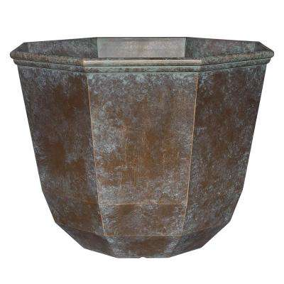 15 in. Weathered Copper Shaina Resin Planter