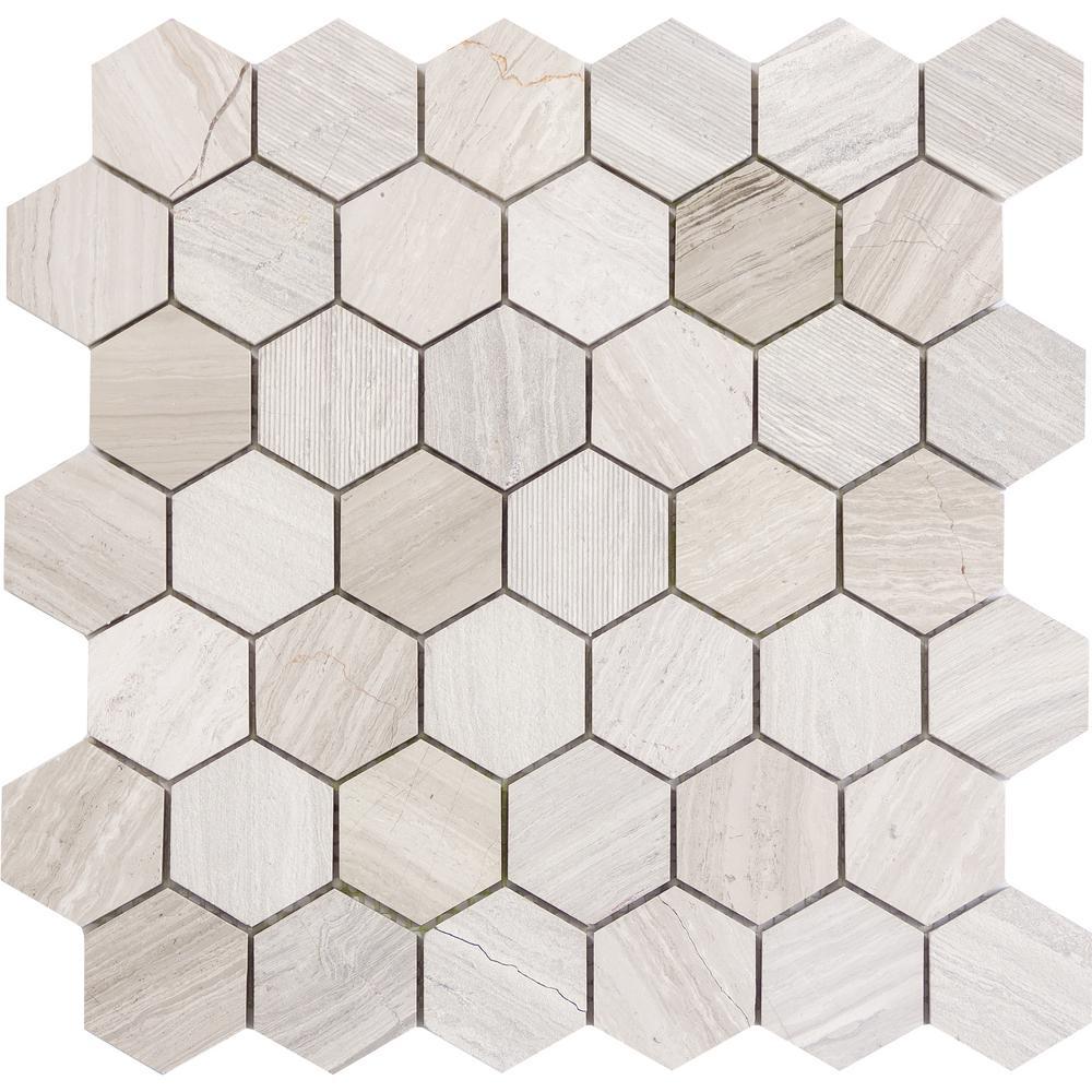 Hexagon mosaic tile tile the home depot metro cream hexagon dailygadgetfo Gallery