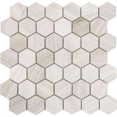 Metro Cream Hexagon Mix 12 In X 10 Mm Limestone Mosaic