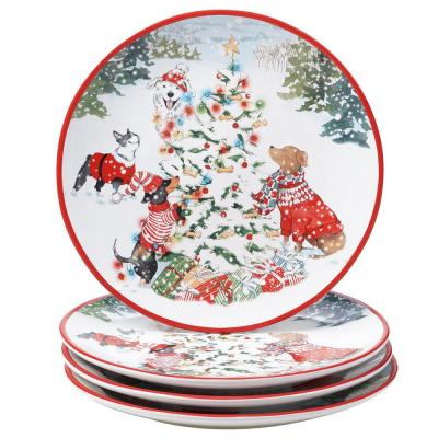 11 in. Special Delivery Multicolored Earthenware Dinner Plate (Set of 4)