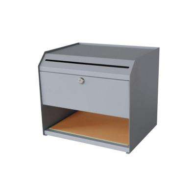 1-Shelf Steel Suggestion Box with Paper Storage in Grey