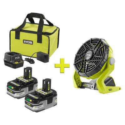 18-Volt ONE+ LITHIUM+ HP 3.0 Ah Battery (2-Pack) Starter Kit with Charger and Bag with Bonus ONE+ Hybrid Portable Fan
