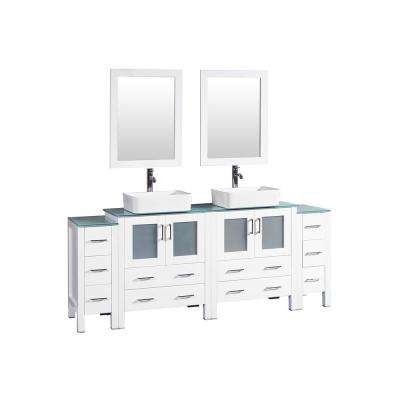 84 in. W Double Bath Vanity in White with Tempered Glass Vanity Top with White Basin and Mirror