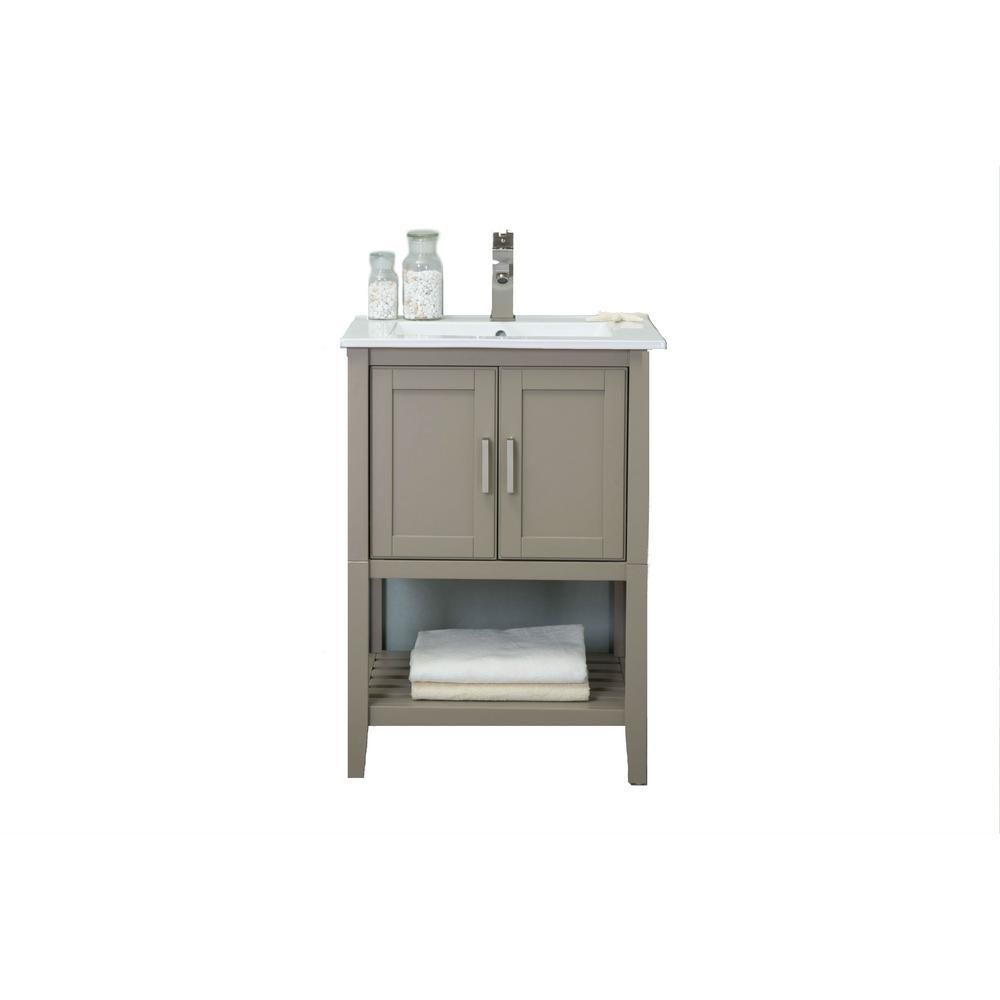 KD 24 in. W x 18 in. D x 34 in. H Bath Vanity Gold Gray with Ceramic Vanity Top in White with White Basin