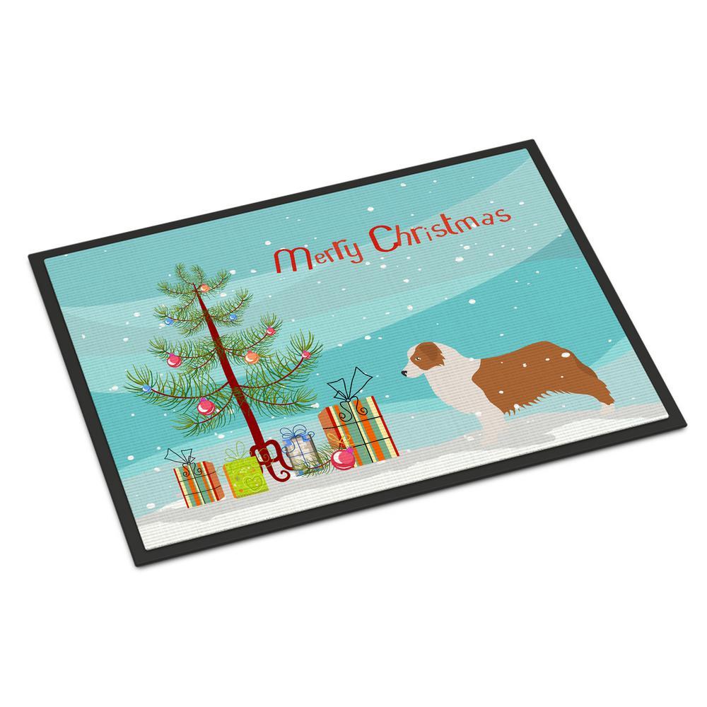 18 in. x 27 in. Indoor/Outdoor Australian Shepherd Dog Christmas Door Mat