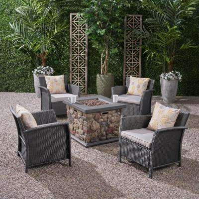 St. Lucia Gray 5-Piece Wicker Patio Fire Pit Conversation Set with Silver Cushions