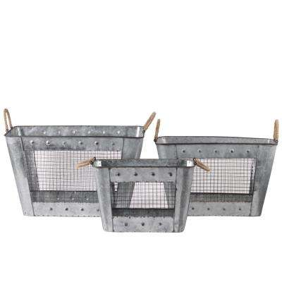 Rectangle Metal Galvanized Gray Decorative Basket (Set of 3)