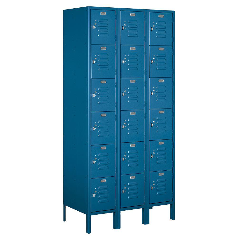 Salsbury Industries 66000 Series 36 in. W x 78 in. H x 18 in. D Six Tier Box Style Metal Locker Unassembled in Blue