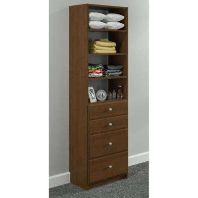84 in. H x 24 in. W Cognac Cherry Drawer and Shelving Tower Kit