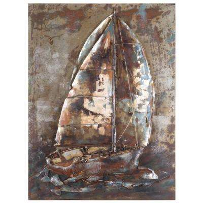 "39 in. x 30 in. ""Sailor's Way"" Hand Painted Contemporary Artwork"