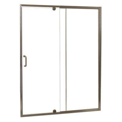 Cove 60 in. W x 69 in. H Frameless Pivot Shower Door and Fixed Panel in Brushed Nickel with 1/4 in. Clear Glass