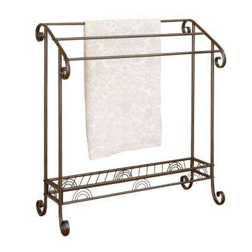 Freestanding Metal Towel Rack in Dark Bronze