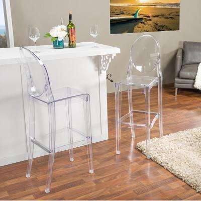 Alvie Clear Finished Plastic 2-Piece Bar Stool Set