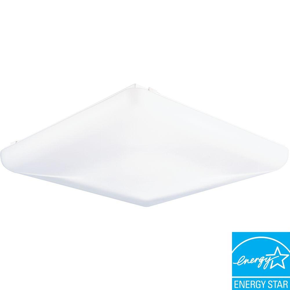 2-Light White Low-Profile Wall/Ceiling Flushmount
