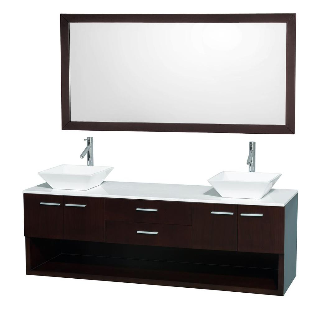 Wyndham Collection Andrea 72 in. Double Vanity in Espresso with Man-Made Stone Vanity Top in White and Sink-DISCONTINUED