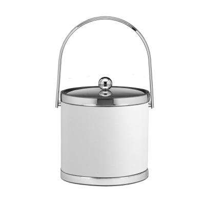 Sophisticates 3 Qt. White and Polished Chrome Ice Bucket with Track Handle and Metal Cover