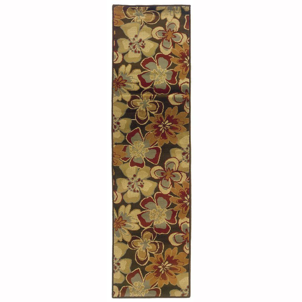 Oriental Weavers Grace Teslin Brown 1 ft. 10 in. x 7 ft. 3 in. Runner