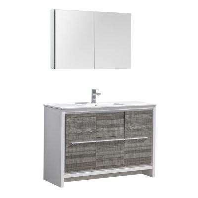 Allier Rio 48 in. Modern Bathroom Vanity in Ash Gray with Ceramic Vanity Top in White and Medicine Cabinet