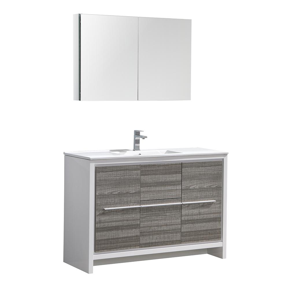 Allier Rio 48 in. Modern Bathroom Vanity in Ash Gray with