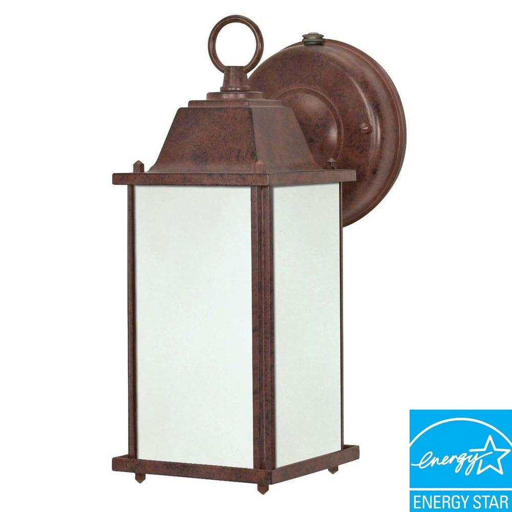 Green Matters Wall Mount Outdoor Old Bronze Cube Lantern Light