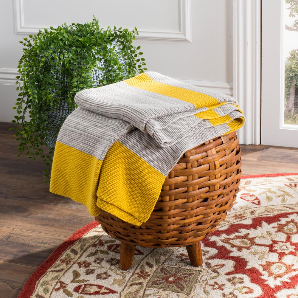 Safavieh Sun Kissed Knit Yellow Light Grey Throw