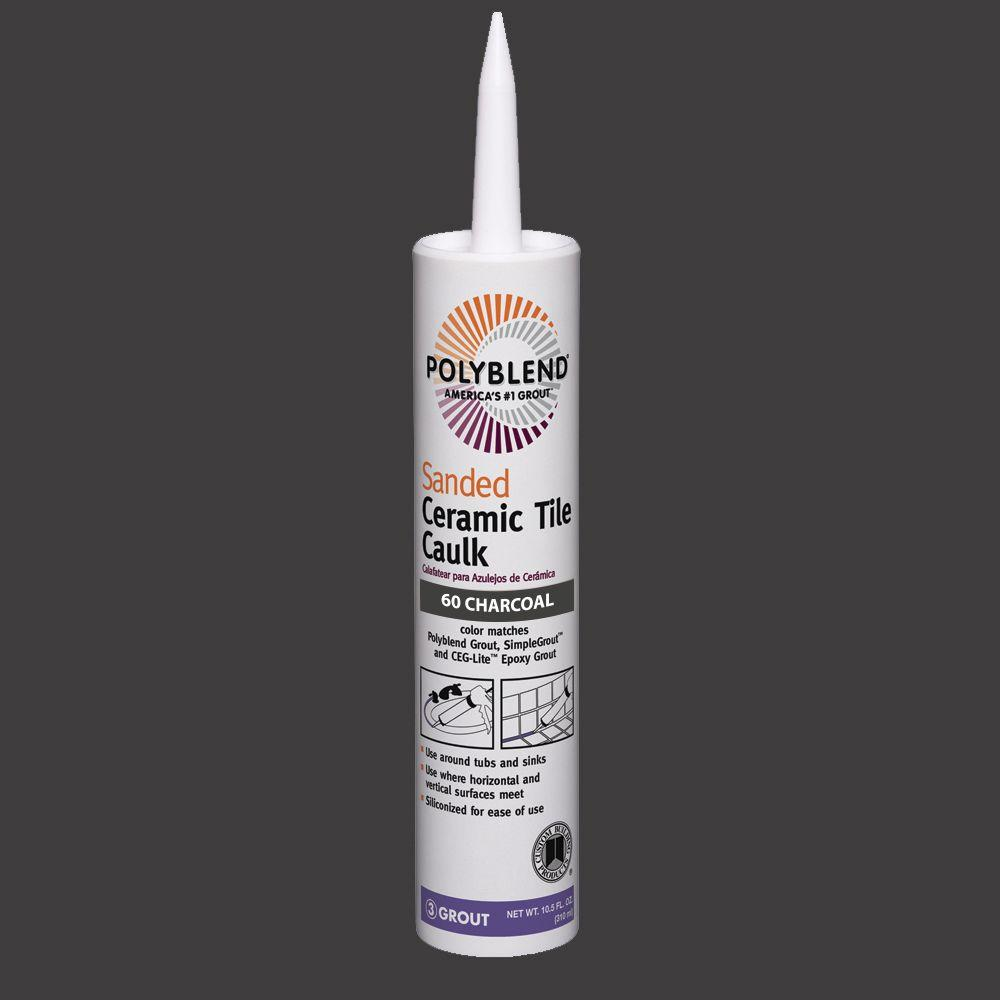 Custom Building Products Polyblend 60 Charcoal 10 5 Oz Sanded Ceramic Tile Caulk Pc6010s The