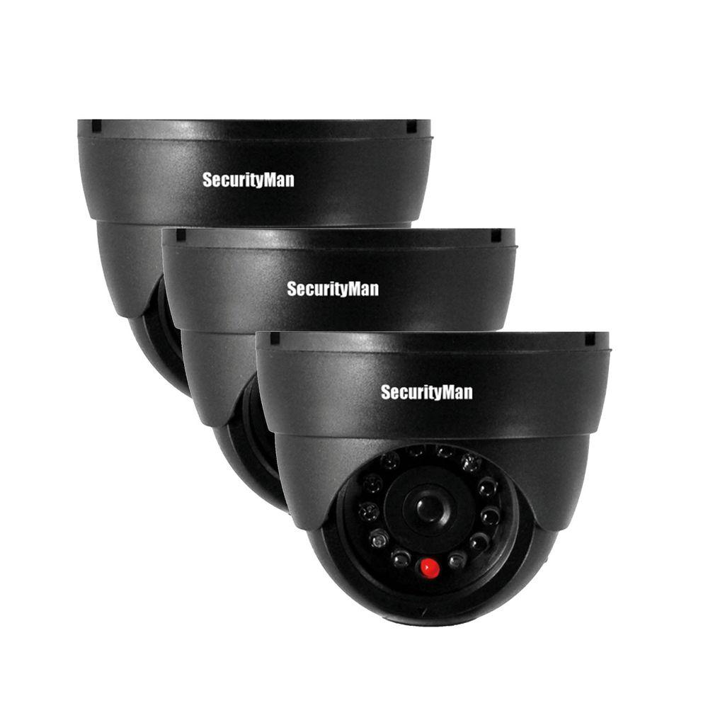 securityman indoor dome dummy security camera 3 pack sm 320s 3pk the home depot. Black Bedroom Furniture Sets. Home Design Ideas