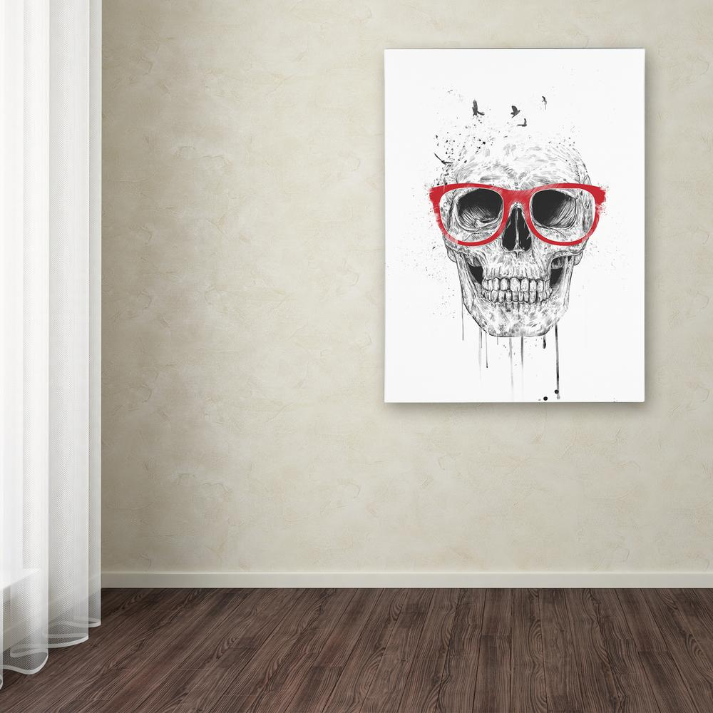 "32 in. x 24 in. ""Skull With Red Glasses"" by Balazs"