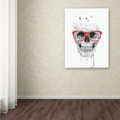 """32 in. x 24 in. """"Skull With Red Glasses"""" by Balazs Solti Printed Canvas Wall Art"""