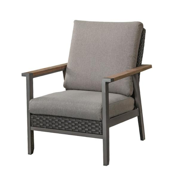 Patio Festival Metal Outdoor Lounge Chair With Gray Cushion Pf20122 The Home Depot