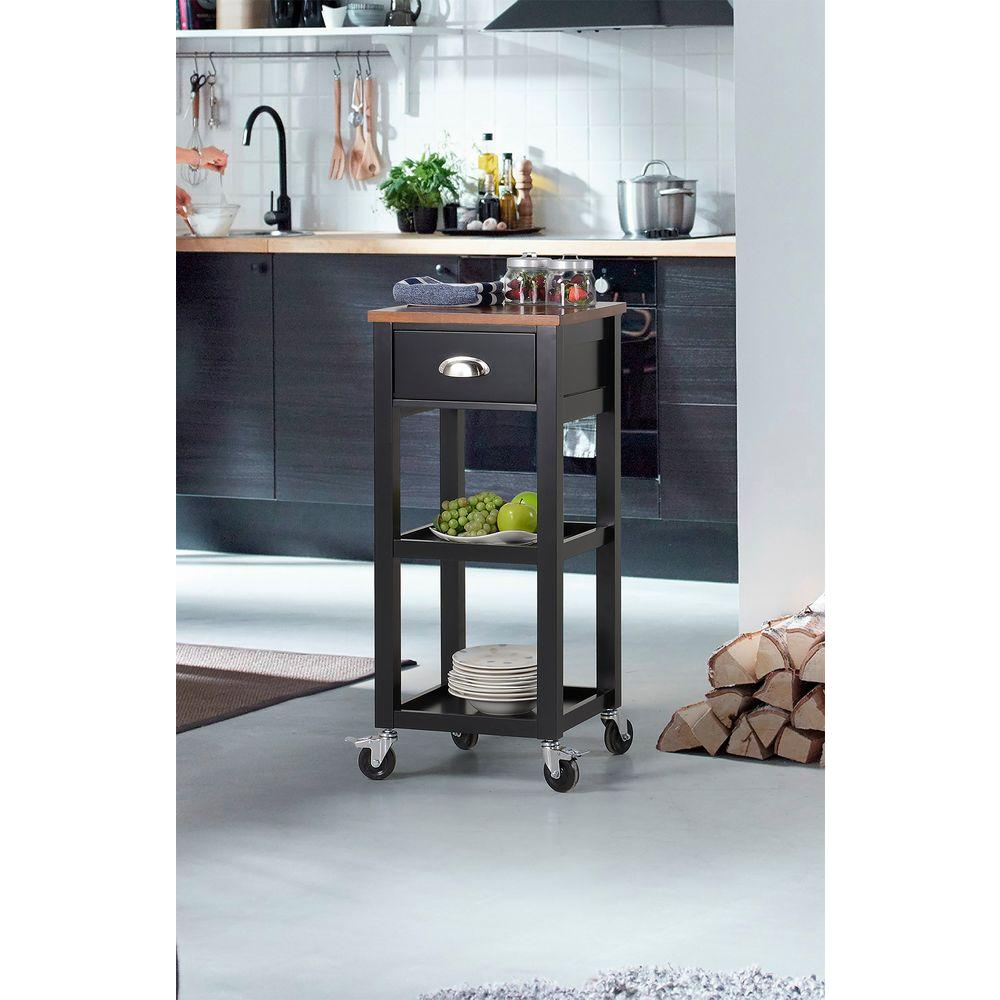 Kitchen Cart With Drawers: Black Kitchen Cart With Drawer-ZH1411871B