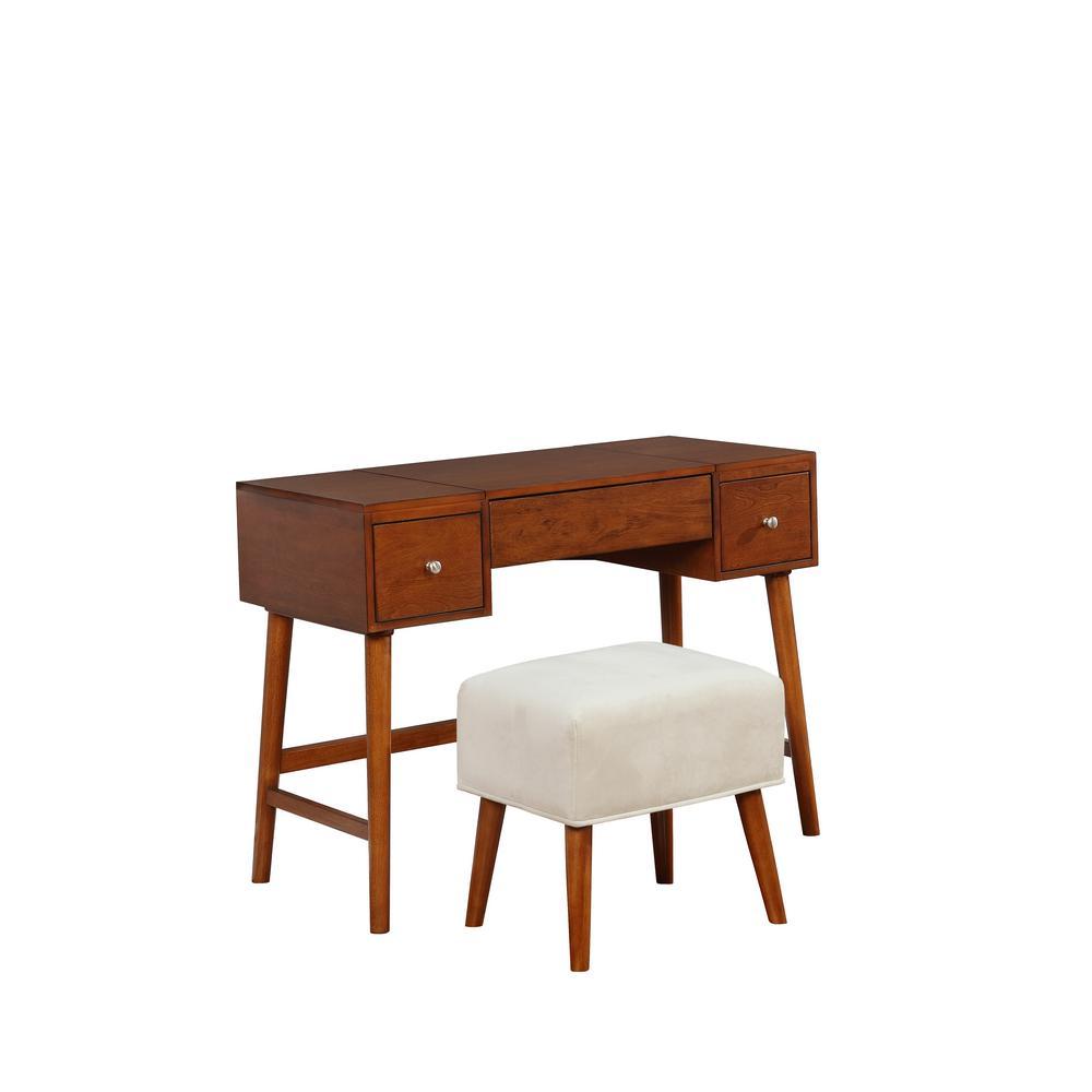 Linon Home Decor Vera 2-Piece Walnut Vanity Set