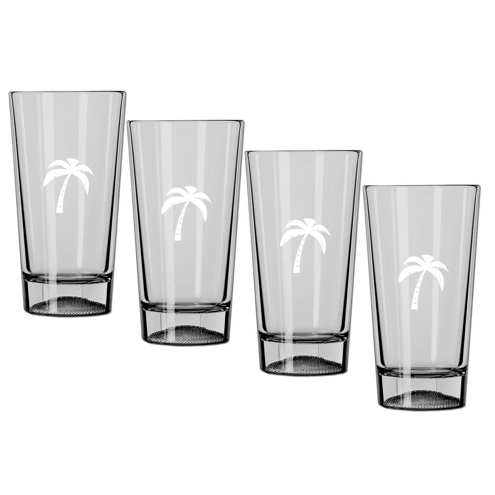 Kraftware Kasualware Palm Tree 16 oz. Pint Glass (Set of 4)